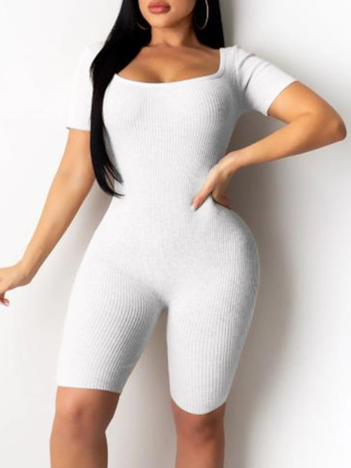 Sexy Plain Backless Knee Length Skinny Women's Jumpsuit