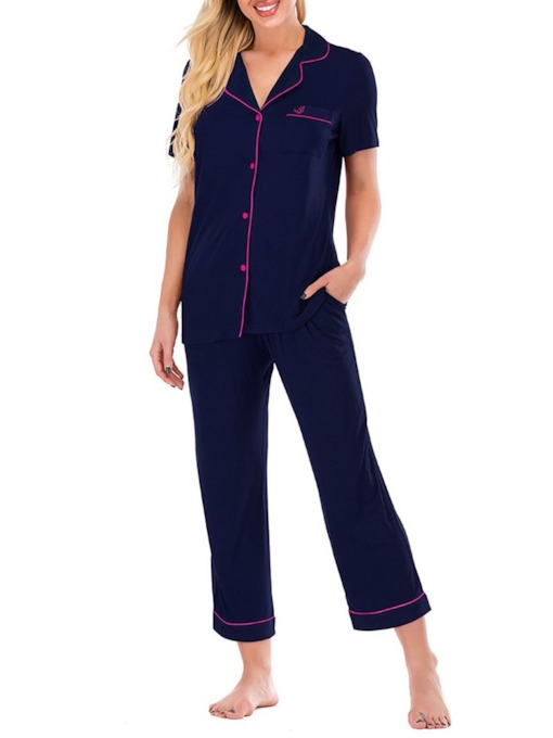 Polyester Simple Sleep Top and Sleep Bottom Women's Pajama Suit