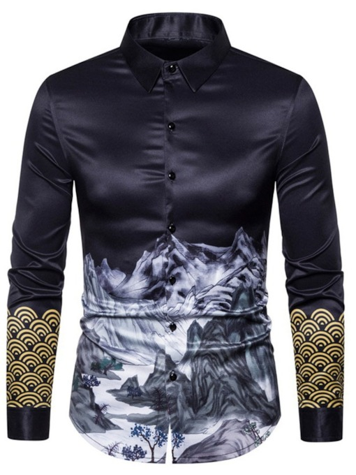 Standard Lapel Casual Print Slim Long Sleeves Men's Shirt
