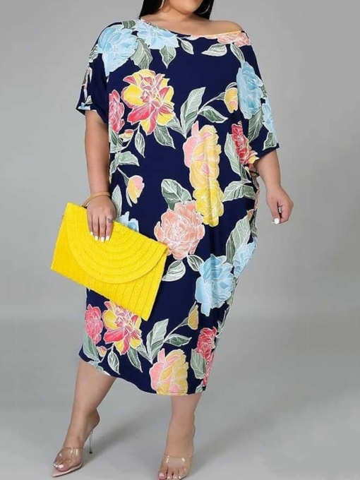 Plus Size Half Sleeve Print Mid-Calf Round Neck Mid Waist Women's Dress
