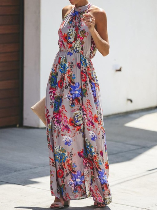 Sleeveless Print Stand Collar Floor-Length Floral Women's Dress