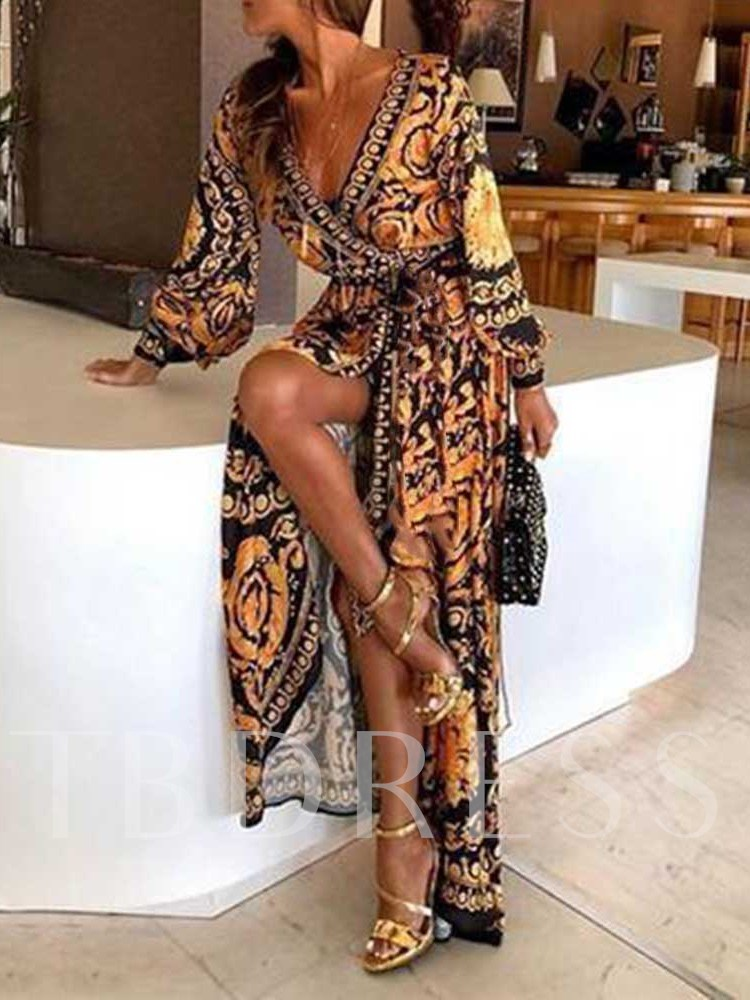 Print Long Sleeve V-Neck Geometric Women's Maxi Dress