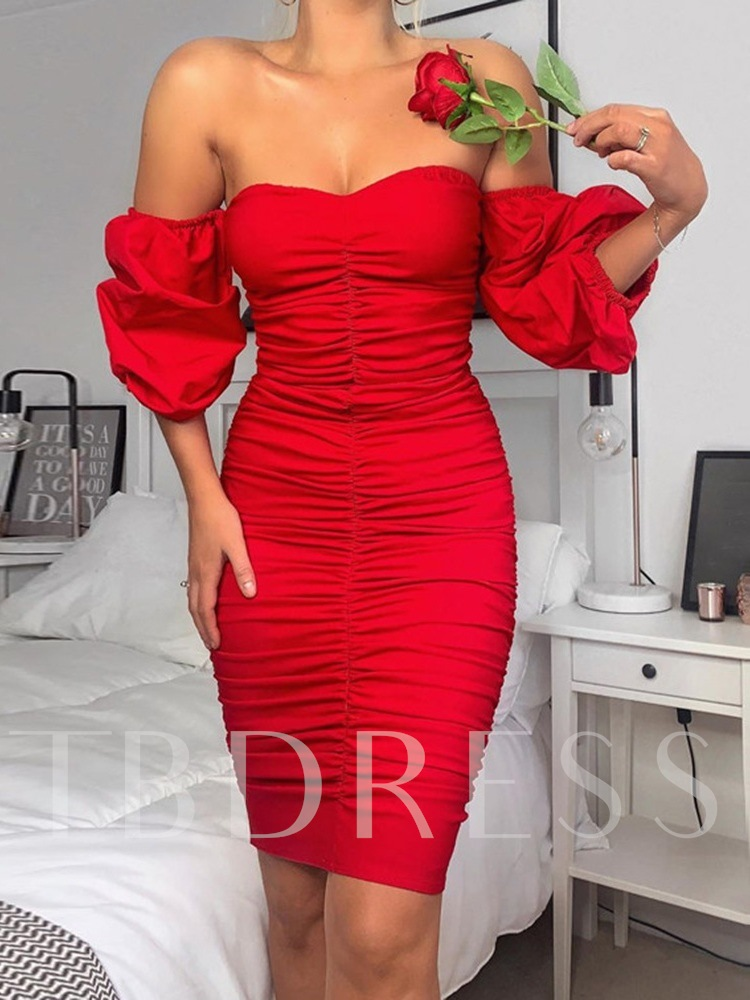Above Knee Off Shoulder Pleated Three-Quarter Sleeve Pencil Women's Dress
