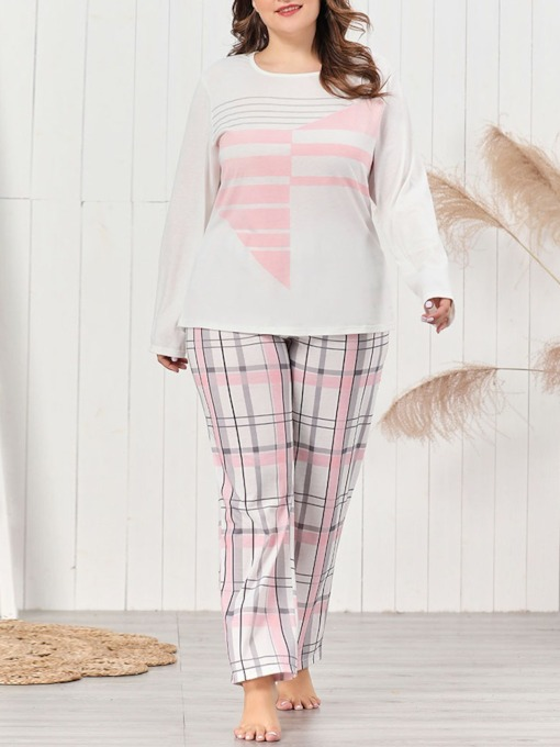 Plus Size Print Simple Plaid Polyester Sleep Bottom Women's Pajama Suit