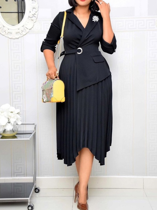 Plus Size Mid-Calf Asymmetric Notched Lapel Three-Quarter Sleeve Fashion Women's Dress
