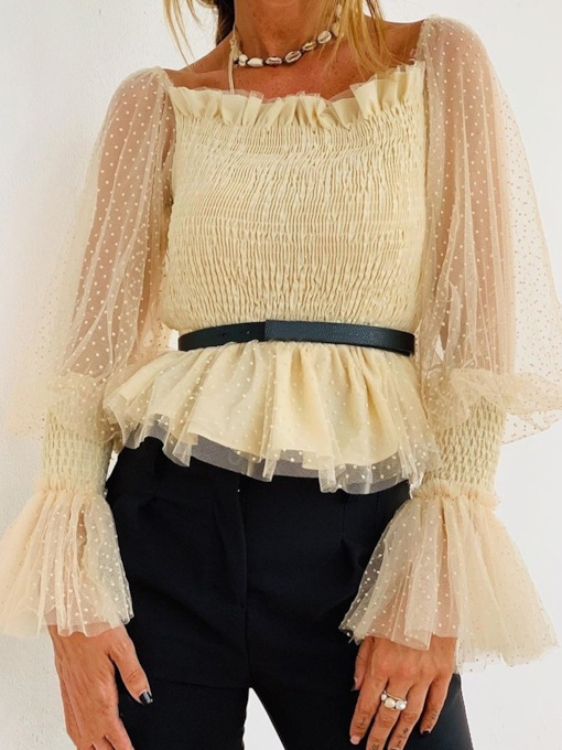 Off Shoulder Mesh Flare Sleeve Standard Women's Blouse