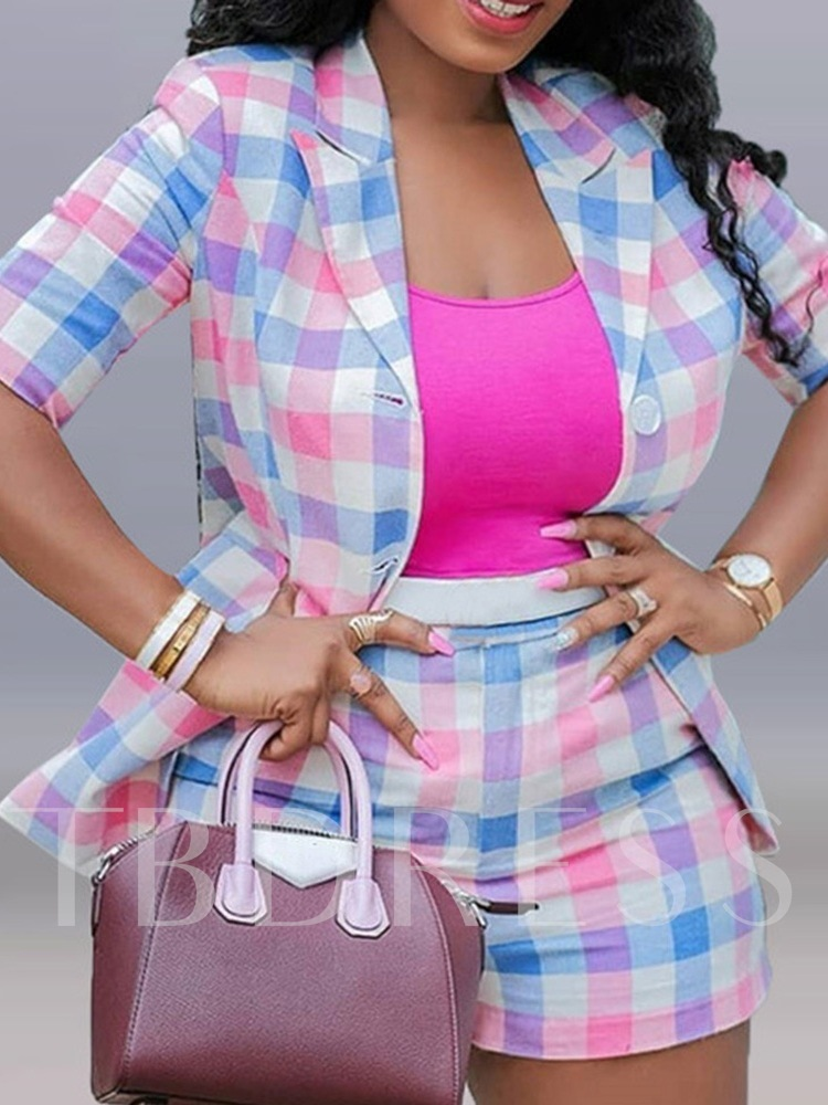 Print Casual Coat Plaid Straight Women's Two Piece Sets