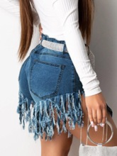 Denim Tassel Zipper Women's Shorts