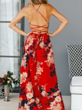 Sleeveless Floor-Length Print Pullover Backless Split Women's Dress