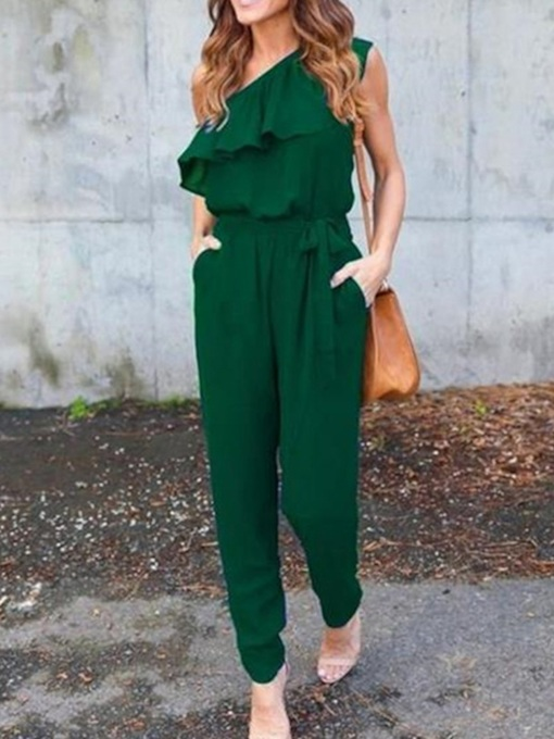 Plain Casual Full Length Falbala Mid Waist Women's Jumpsuit