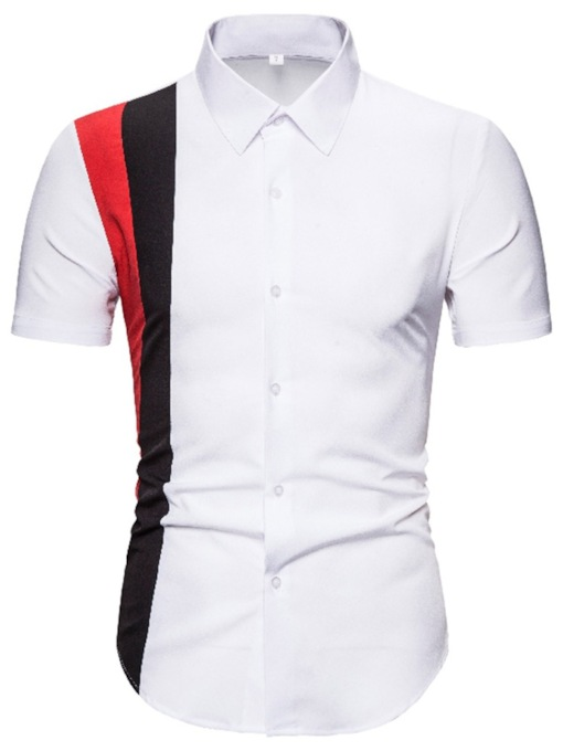 Short Sleeves Casual Color Block Summer Men's Shirt