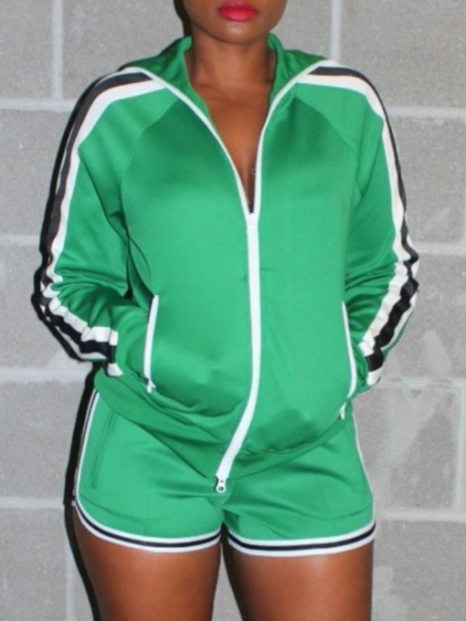 Breathable Color Block Polyester Zipper Running Long Sleeve Clothing Sets