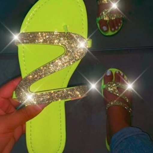 Flat With Flip Flop Sequin Slip-On Summer Slippers