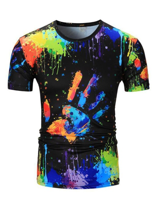 Casual Round Neck Print Straight Men's T-shirt