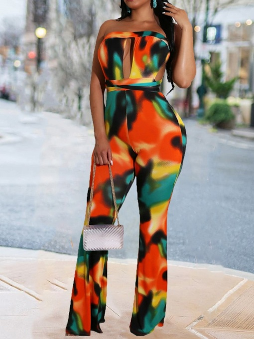 Color Block Sexy Full Length Bellbottoms Women's Jumpsuit