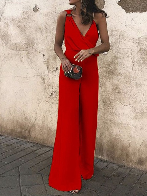 Summer Western Plain Full Length High Waist Women's Jumpsuit