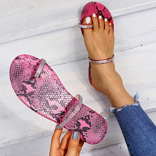 Toe Ring Rhinestone Slip-On Flat With Summer Slippers