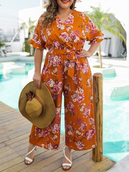 Plusee Vintage Full Length Floral Print Loose Women's Jumpsuit