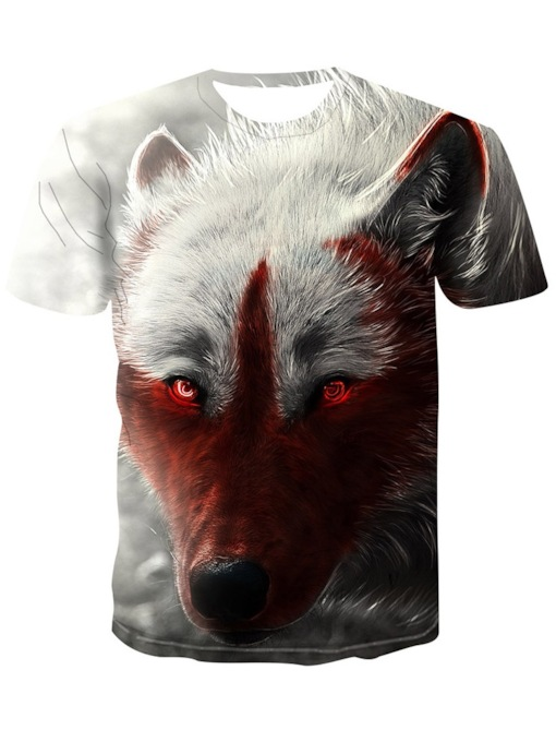 Print Casual Round Neck Loose Men's T-shirt