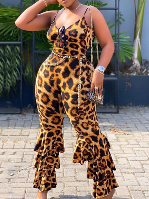 Plus Size Falbala Western Full Length Leopard Bellbottoms Women's Jumpsuit