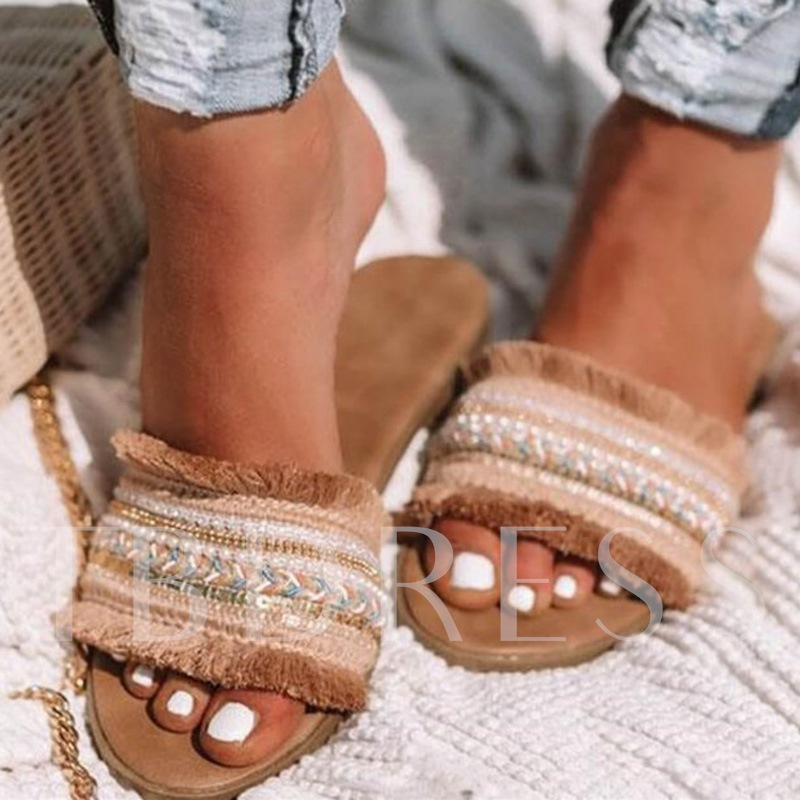 Flat With Slip-On Flip Flop Woven Summer Slippers