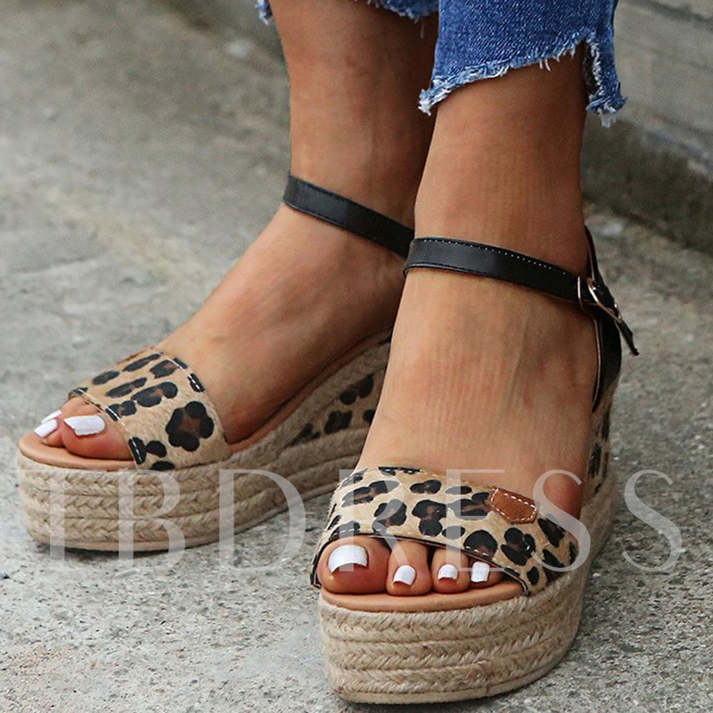 Buckle Wedge Heel Open Toe Patchwork Sandals