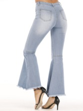 Pocket Bellbottoms Reißverschluss Damen Jeans