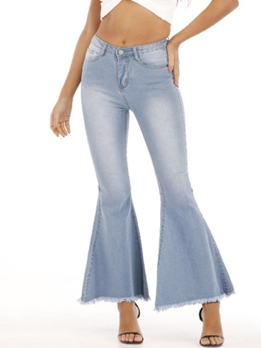 Slim Denim Pocket Bellbottoms Zipper Women's Jeans