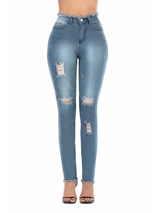 Thin Denim Hole Pencil Pants Zipper Women's Jeans