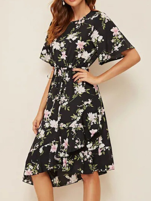 Mid-Calf Asymmetric Round Neck Short Sleeve Vintage Women's Dress