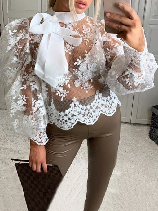 Stand Collar Puff Sleeve Mesh Nine Points Sleeve Women's Blouse