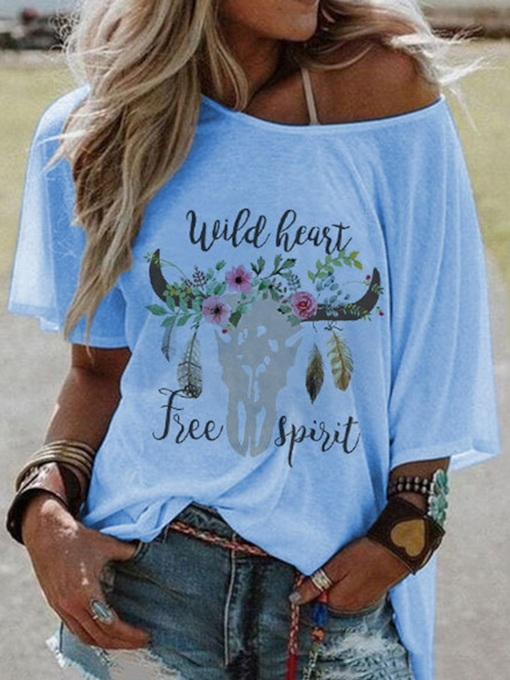 Round Neck Short Sleeve Mid-Length Floral Casual Women's T-Shirt