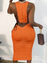 Lace-Up Mid-Calf Sleeveless Date Night/Going Out Women's Dress