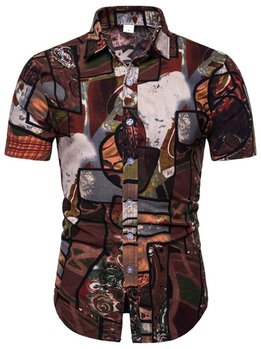 Summer Slim Short Sleeves Print Casual Slim Men's Shirt