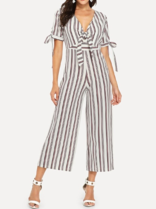 Stripe Office Lady Mid-Calf Wide Legs Women's Jumpsuit