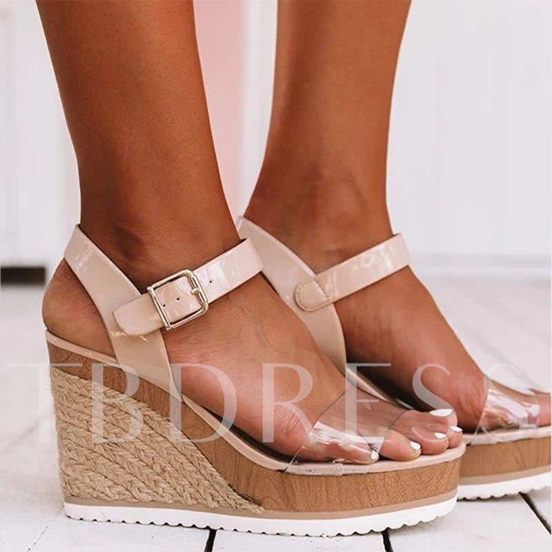 Summer Wedge Heel Open Toe Buckle Casual Sandals