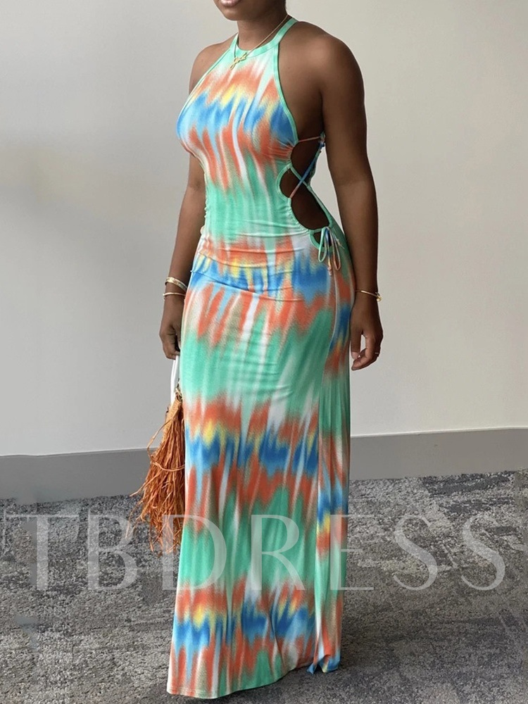 Ankle-Length Print Sleeveless Halter Women's Dress