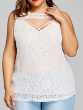 Plus Size I-Shaped Lace Lace Mid-Length Women's Tank Top