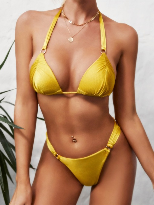 Plain Tankini Set Lace-Up Yellow Sexy Women's Swimwear