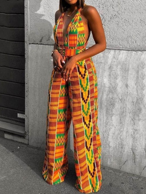 Geometric Print Full Length Casual High Waist Women's Jumpsuit