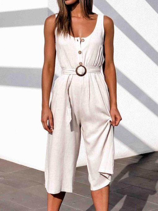 Fashion Button Mid-Calf Plain Loose Women's Jumpsuit