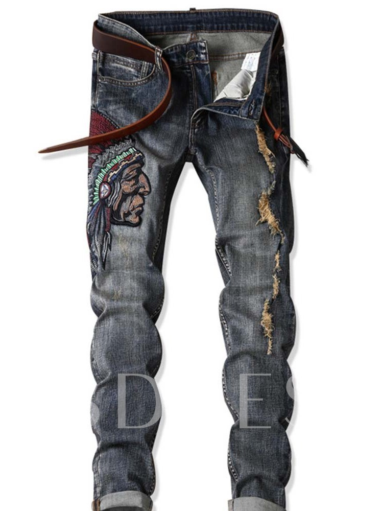 Straight Denim Mid Waist Men's Jeans Full Length Jeans