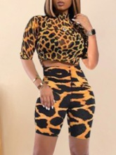Leopard Shorts Print Western Pullover Women's Two Piece Sets