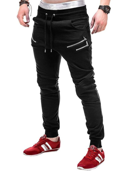 Loose Mid Waist Men's Casual Pants