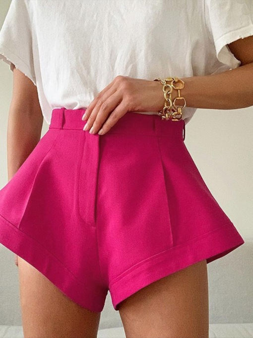Zipper Plain Wide Legs Loose Women's Shorts