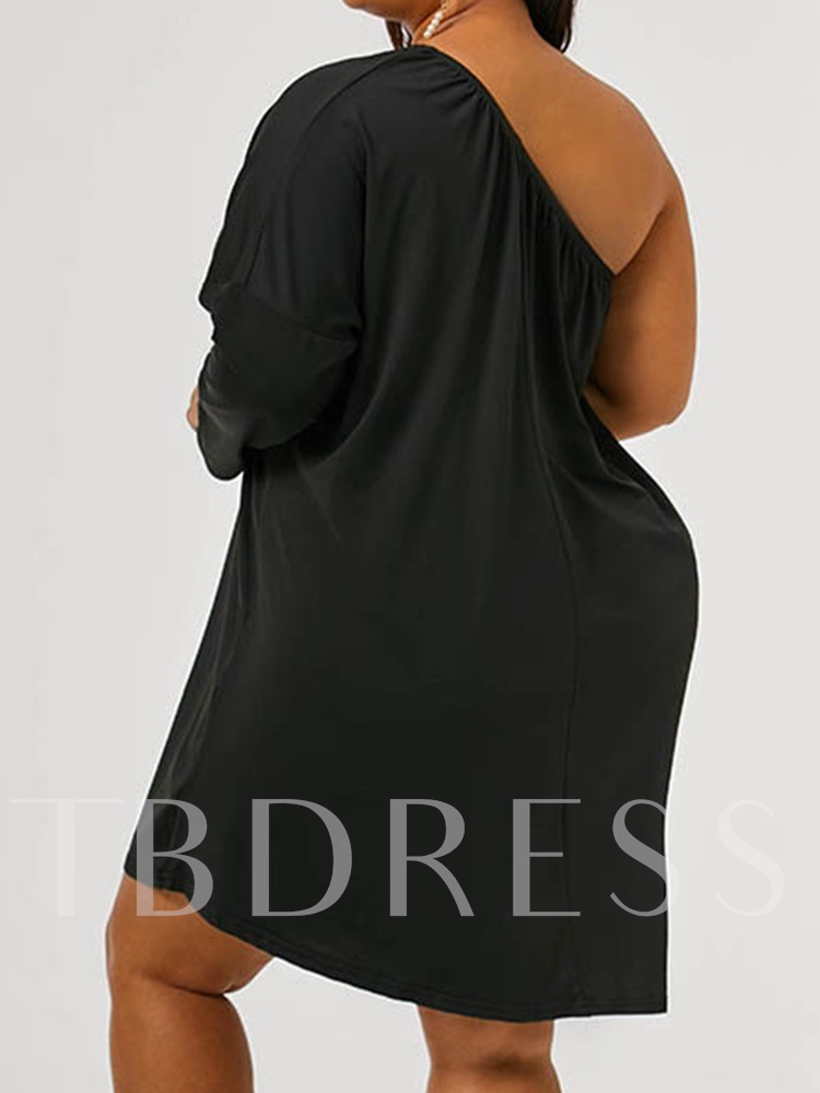 Plus Size Above Knee Long Sleeve Oblique Collar Pullover Women's Dress