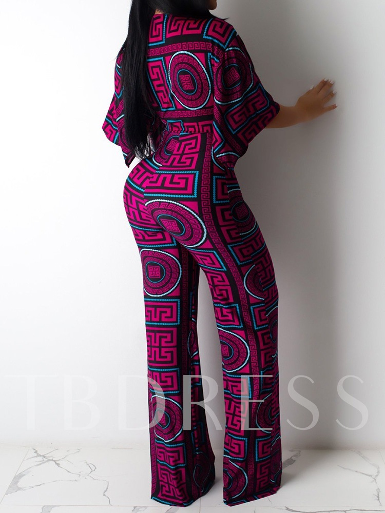 Pants Geometric Casual Print V-Neck Women's Two Piece Sets