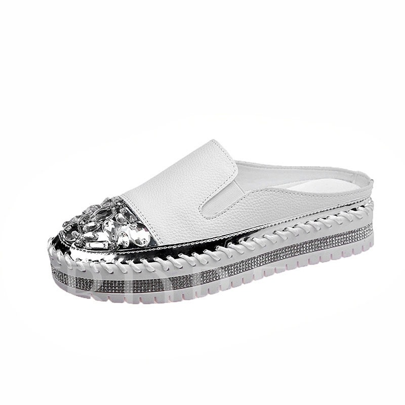 Round Toe Flat With Slip-On Rhinestone Low-Cut Upper Thin Shoes
