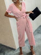 Stripe Lace-Up Mid-Calf Casual Mid Waist Women's Jumpsuit