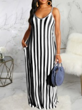 Casual Sleeveless Floor-Length Scoop Spaghetti Strap Women's Dress